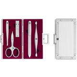 manicure set ''aluminium'' with 5 tools red interior