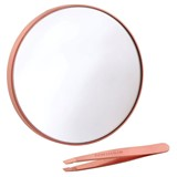 set zebra magnifying mirror 10x + mini slant tweezer rose gold