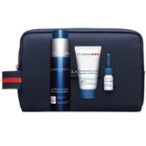 coffret clarins men gel revitalizante 50ml+shampoo 30ml+óleo de barbear 3ml+bag